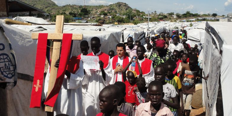 South Sudan, 2014 Via Cruzis (Way of the Cross) through the camp during the Palm Sunday procession in Juba.